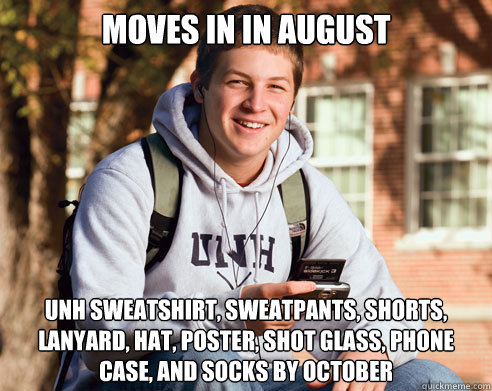 moves in in august unh sweatshirt sweatpants shorts lanya - College Freshman