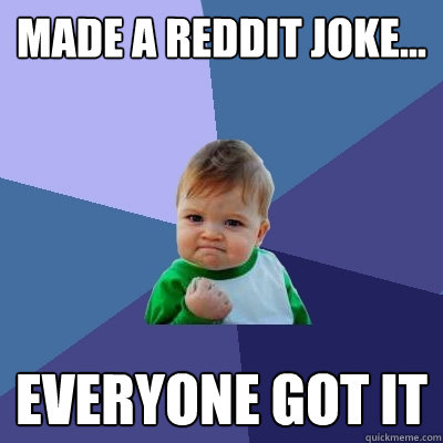 made a reddit joke everyone got it - Success Kid