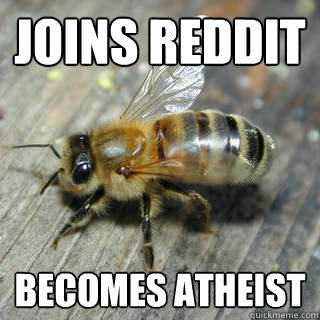joins reddit becomes atheist  - Hivemind bee