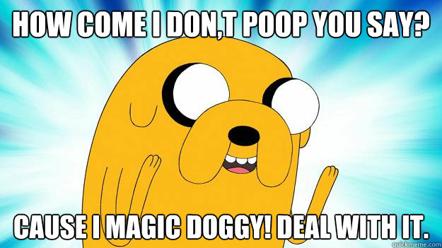 how come i dont poop you say cause i magic doggy deal wit - Jake The Dog
