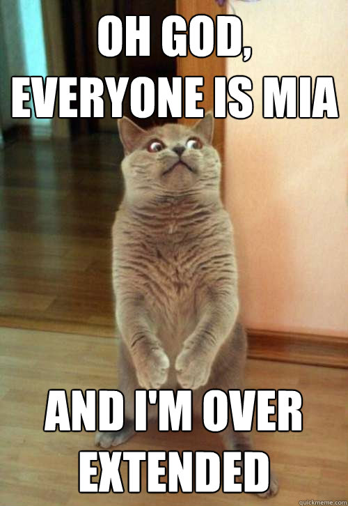 oh god everyone is mia and im over extended  - Horrorcat