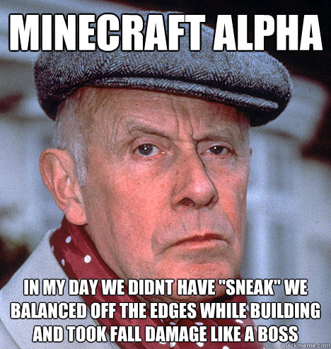 minecraft alpha in my day we didnt have sneak we balanced  - Grump old man