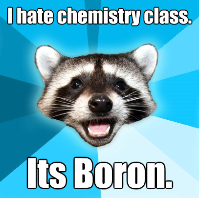 i hate chemistry class its boron - Lame Pun Coon