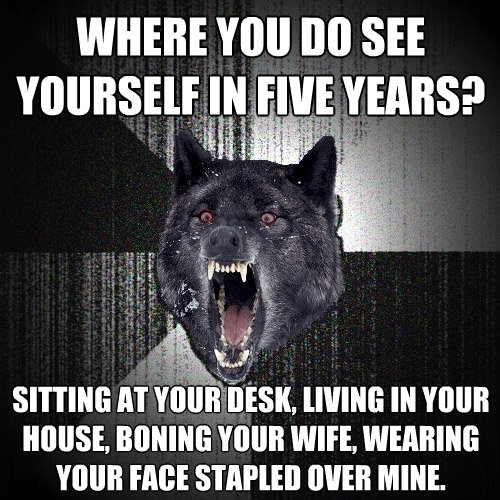 where you do see yourself in five years sitting at your des - Insanity Wolf