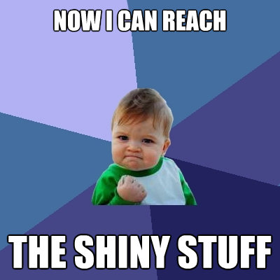 now i can reach the shiny stuff - Success Kid