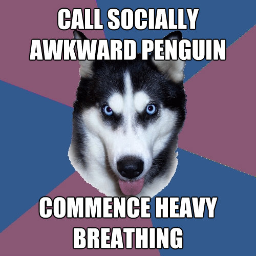 call socially awkward penguin commence heavy breathing - Creeper Canine