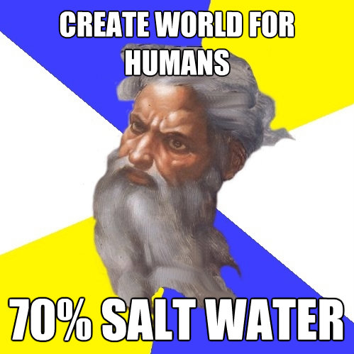 create world for humans 70 salt water - Advice God