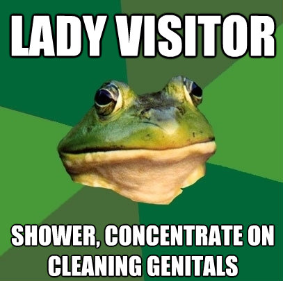 lady visitor shower concentrate on cleaning genitals - Foul Bachelor Frog