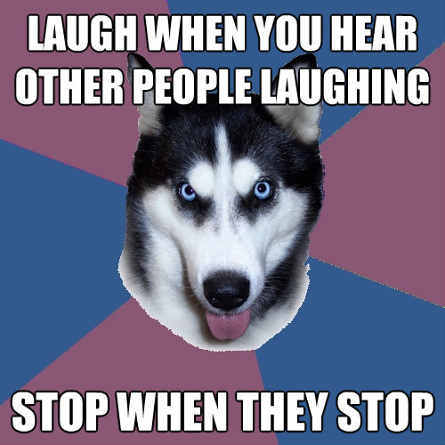 laugh when you hear other people laughing stop when they sto - Creeper Canine