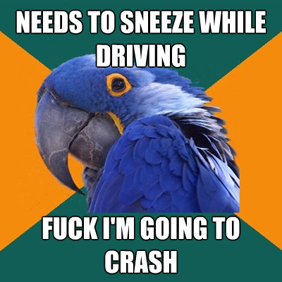 needs to sneeze while driving fuck im going to crash - Paranoid Parrot