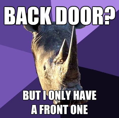 back door but i only have a front one - Sexually Oblivious Rhino