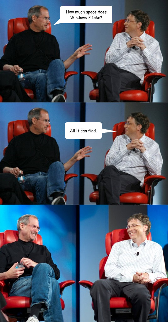 how much space does windows 7 take all it can find - Steve Jobs vs Bill Gates