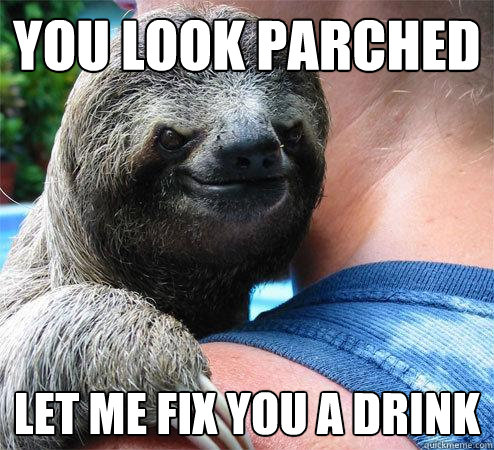 you look parched let me fix you a drink  - Suspiciously Evil Sloth