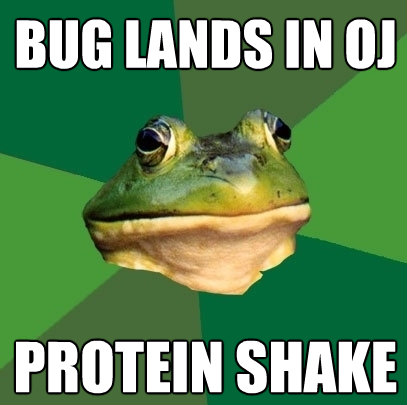 bug lands in oj protein shake - Foul Bachelor Frog