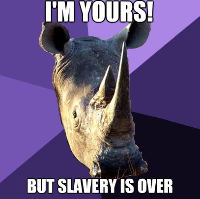 im yours but slavery is over - Sexually Oblivious Rhino