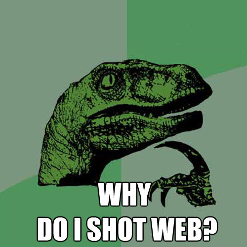 why do i shot web - Philosoraptor