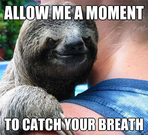 allow me a moment to catch your breath - Suspiciously Evil Sloth