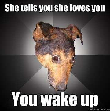 she tells you she loves you you wake up - Depression Dog