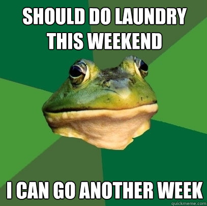 should do laundry this weekend i can go another week - Foul Bachelor Frog