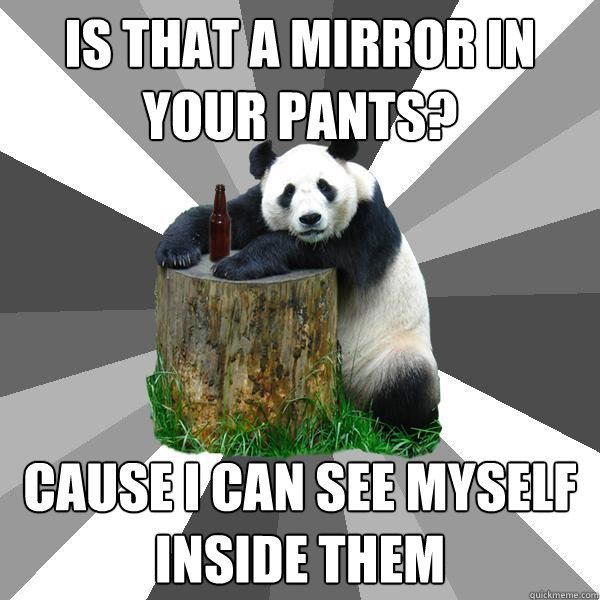 is that a mirror in your pants cause i can see myself insid - Pickup-Line Panda