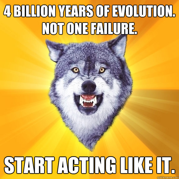 4 billion years of evolution not one failure start acti - Courage Wolf
