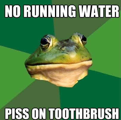 no running water piss on toothbrush - Foul Bachelor Frog