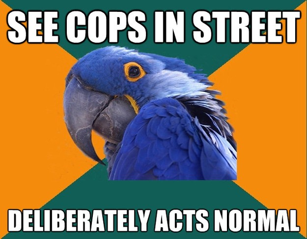 see cops in street deliberately acts normal - Paranoid Parrot