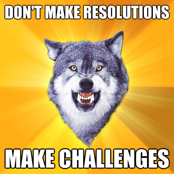 dont make resolutions make challenges - Courage Wolf