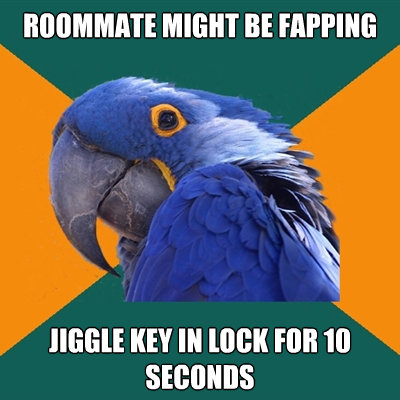 roommate might be fapping jiggle key in lock for 10 seconds - Paranoid Parrot