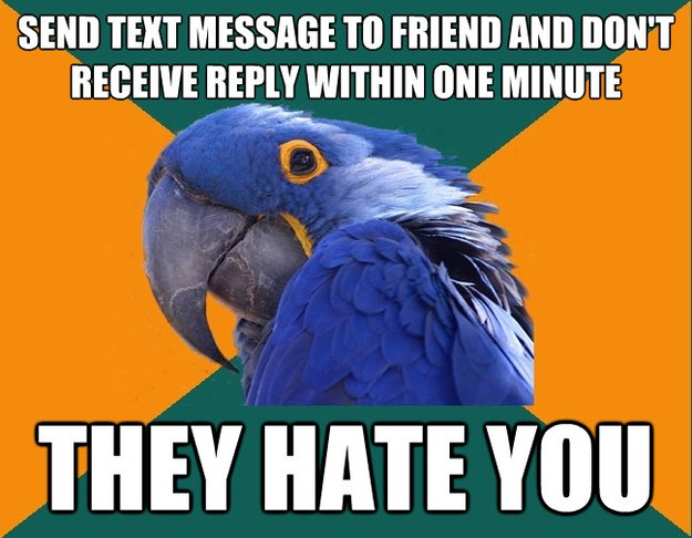 send text message to friend and dont receive reply within o - Paranoid Parrot