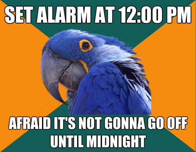 set alarm at 1200 pm afraid its not gonna go off until mid - Paranoid Parrot
