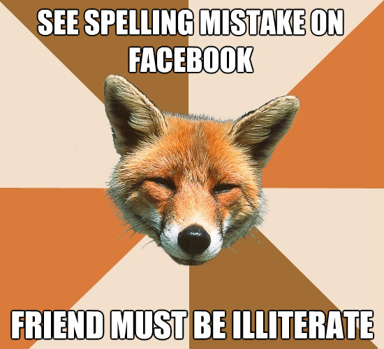 see spelling mistake on facebook friend must be illiterate - Condescending Fox