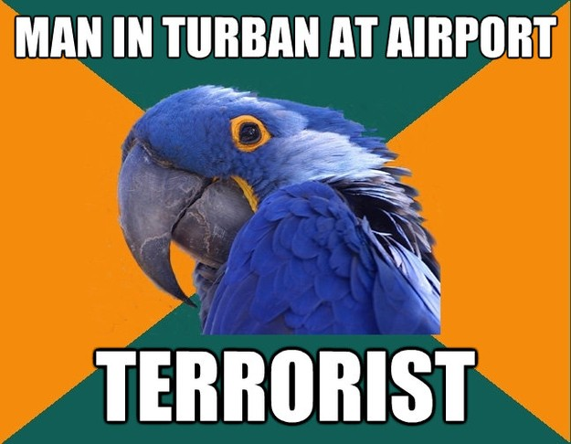 man in turban at airport terrorist - Paranoid Parrot