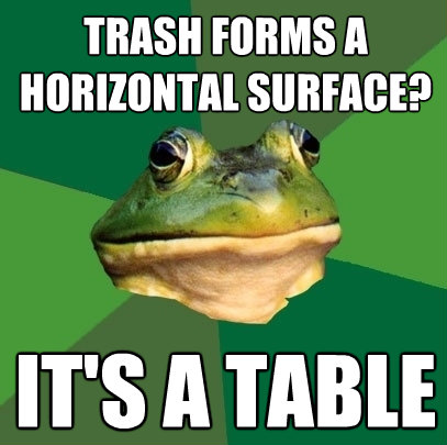 trash forms a horizontal surface its a table - Foul Bachelor Frog