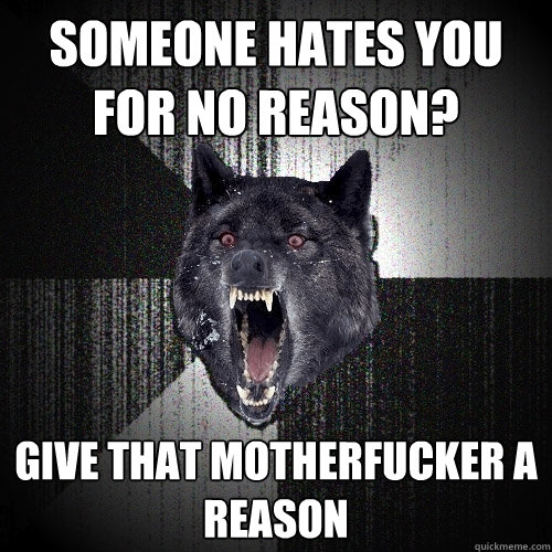 someone hates you for no reason give that motherfucker a re - Insanity Wolf