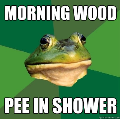 morning wood pee in shower - Foul Bachelor Frog