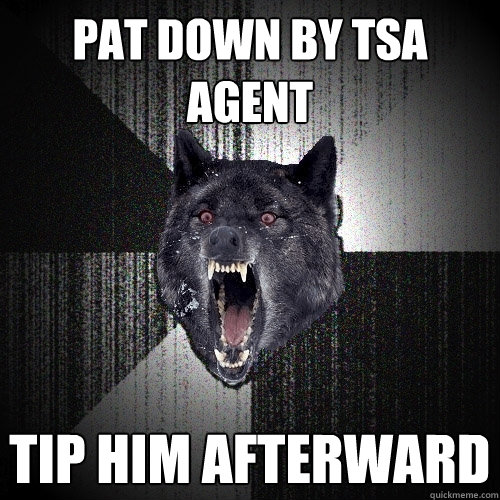 pat down by tsa agent tip him afterward  - Insanity Wolf