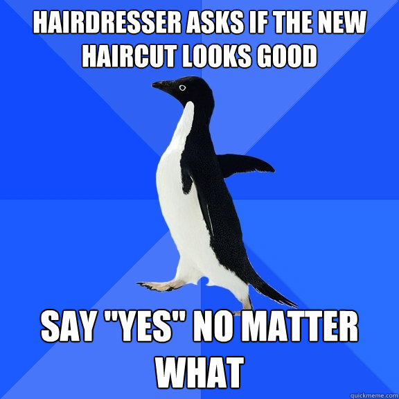 hairdresser asks if the new haircut looks good say yes no  - Socially Awkward Penguin