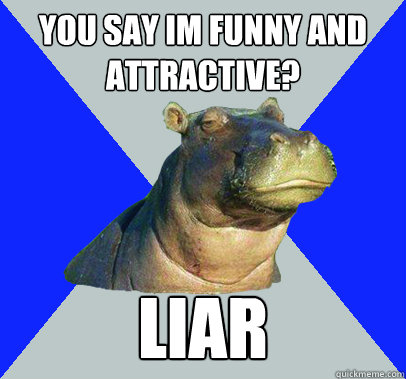 you say im funny and attractive liar - Skeptical Hippo