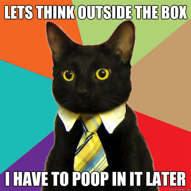 lets think outside the box i have to poop in it later - Business Cat