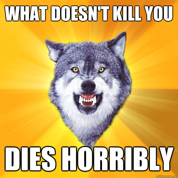 what doesnt kill you dies horribly - Courage Wolf