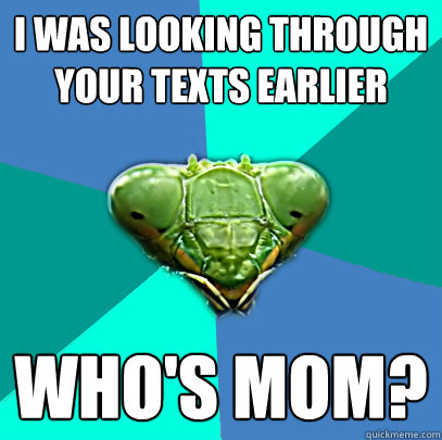 i was looking through your texts earlier whos mom - Crazy Girlfriend Praying Mantis