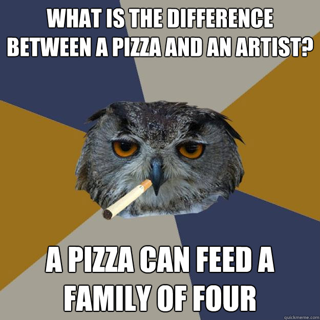 what is the difference between a pizza and an artist a pizz - Art Student Owl