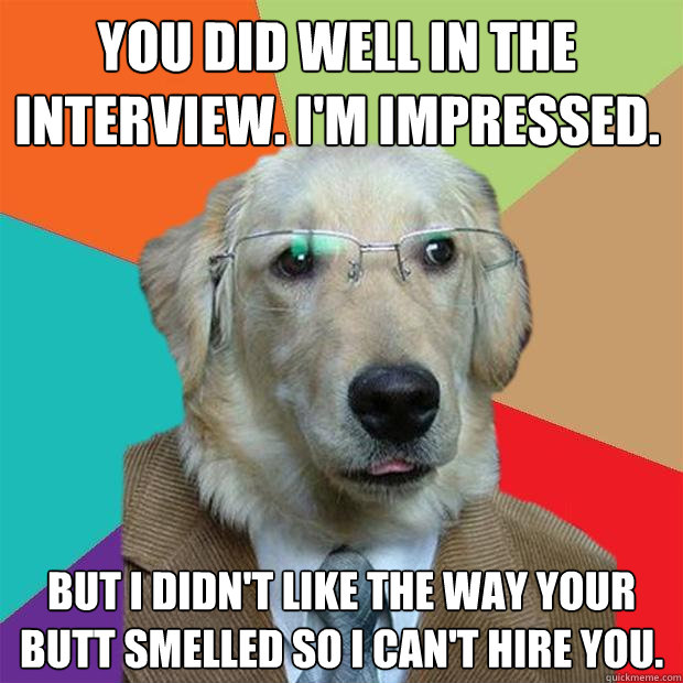 you did well in the interview im impressed but i didnt l - Business Dog