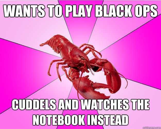 wants to play black ops cuddels and watches the notebook ins - Long-term relationship Lobster