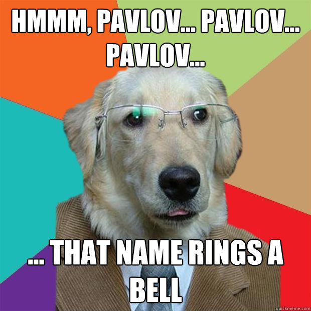 hmmm pavlov pavlov pavlov that name rings a be - Business Dog