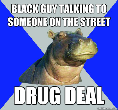 black guy talking to someone on the street drug deal - Skeptical Hippo