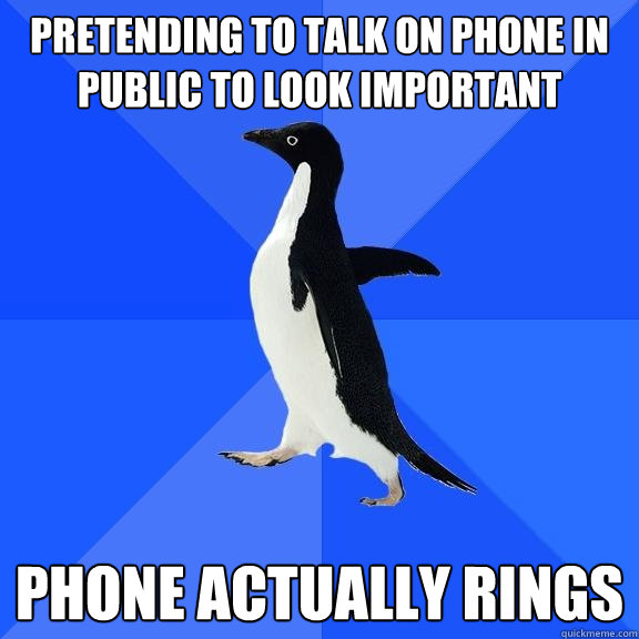 pretending to talk on phone