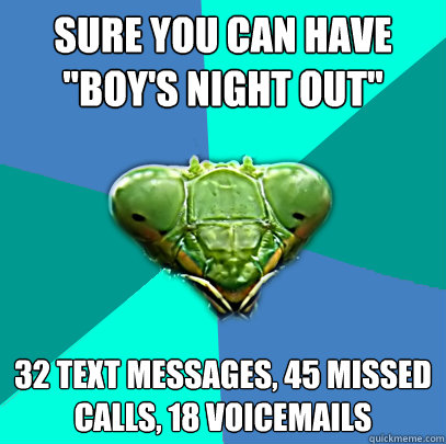 sure you can have boys night out 32 text messages 45 mis - Crazy Girlfriend Praying Mantis