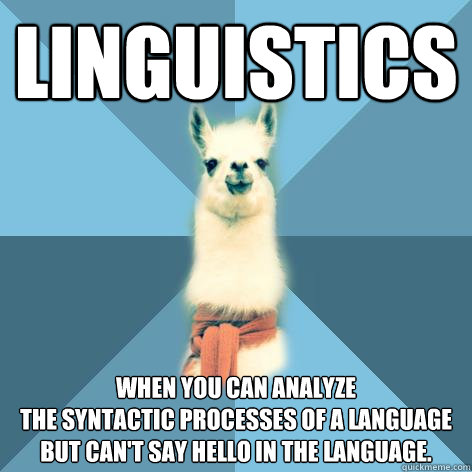 linguistics when you can analyze the syntactic processes of  - Linguist Llama